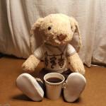 hoppy drinking coffee
