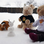 Mr. Rabbit & pals playing in the snow
