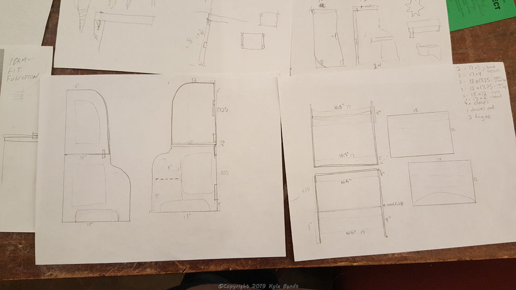 Blueprints for building a convertible kid's step stool and table.
