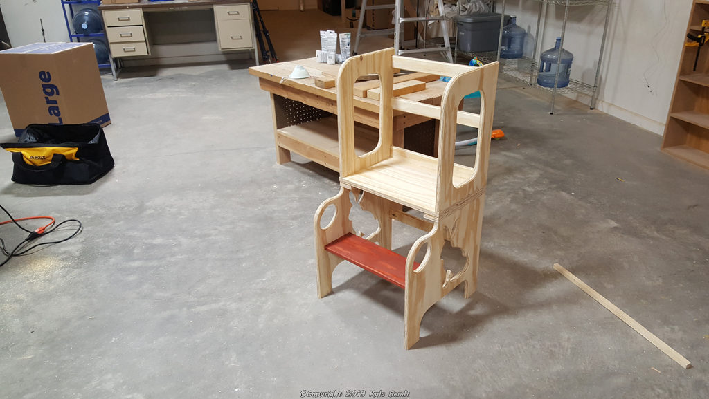 Kid's step stool  in the process of being built.