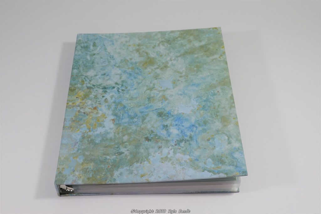 baby book- a three ring binder with marbled blue and green cover filled with laminated baby book pages