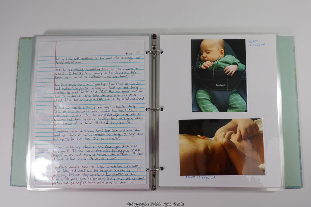 laminated baby book pages