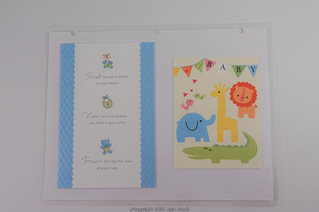 laminated baby book page - cards
