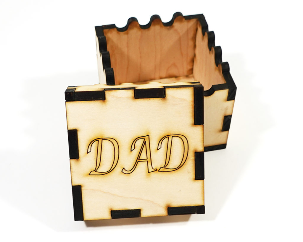 Father's day gift- DIY box with 'DAD' laser inscribed on the top