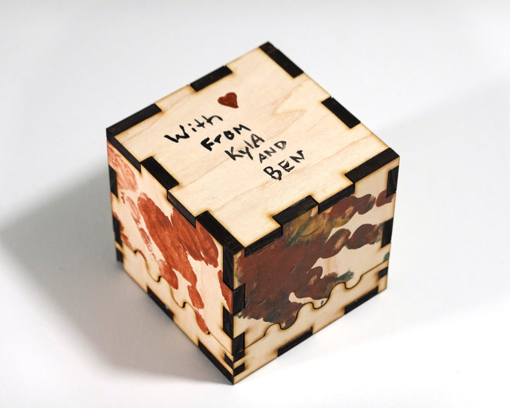 DIY box for dad- bottom side with the words 'With Love from Kyla and Ben'