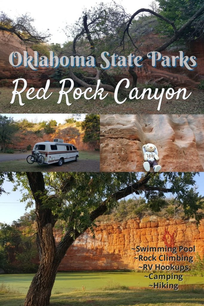 Oklahoma State Parks - Red Rock Canyon: Pictures of Red Rock Canyon with an RV van and Hoppy the rabbit.